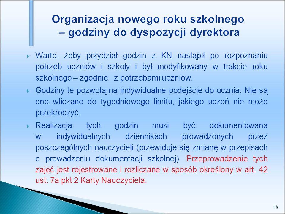 16 Organizacja nowego roku szkolnego – godziny do dyspozycji dyrektora Warto, żeby przydział godzin z KN nastąpił po rozpoznaniu potrzeb uczniów i szk