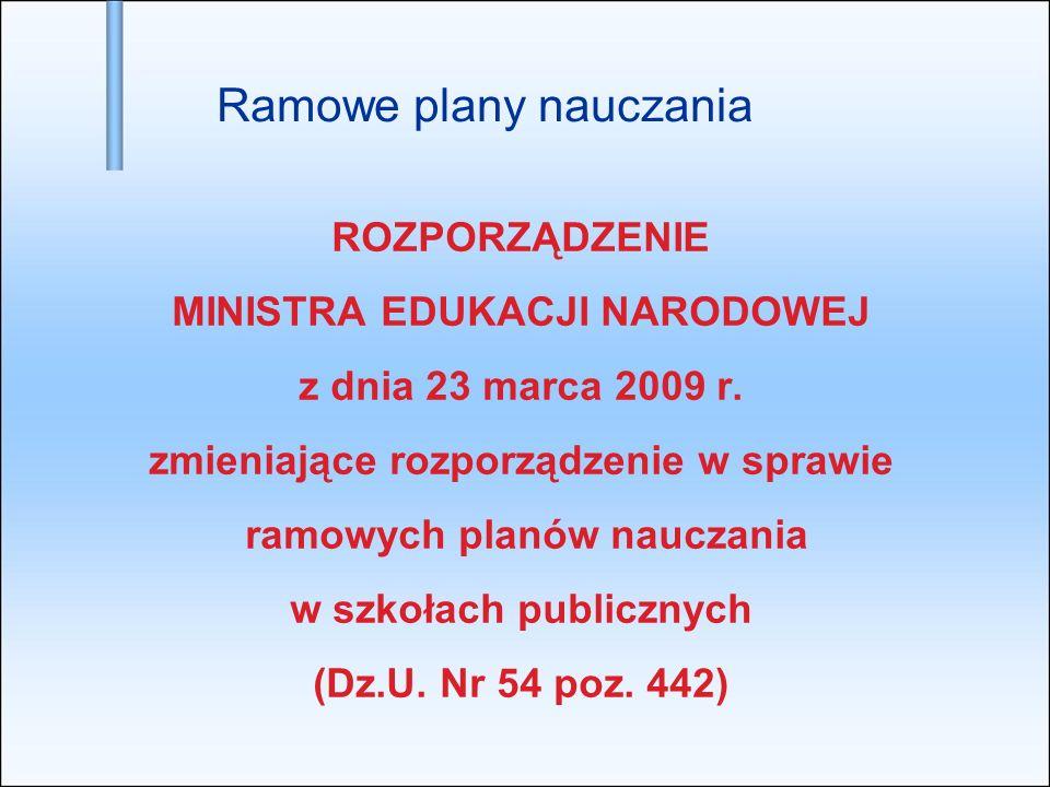 ROZPORZĄDZENIE MINISTRA EDUKACJI NARODOWEJ z dnia 23 marca 2009 r. zmieniające rozporządzenie w sprawie ramowych planów nauczania w szkołach publiczny