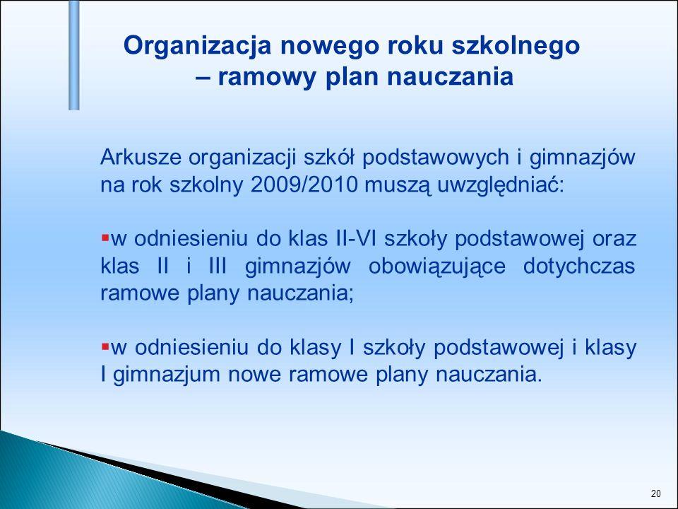 20 Organizacja nowego roku szkolnego – ramowy plan nauczania Arkusze organizacji szkół podstawowych i gimnazjów na rok szkolny 2009/2010 muszą uwzględ