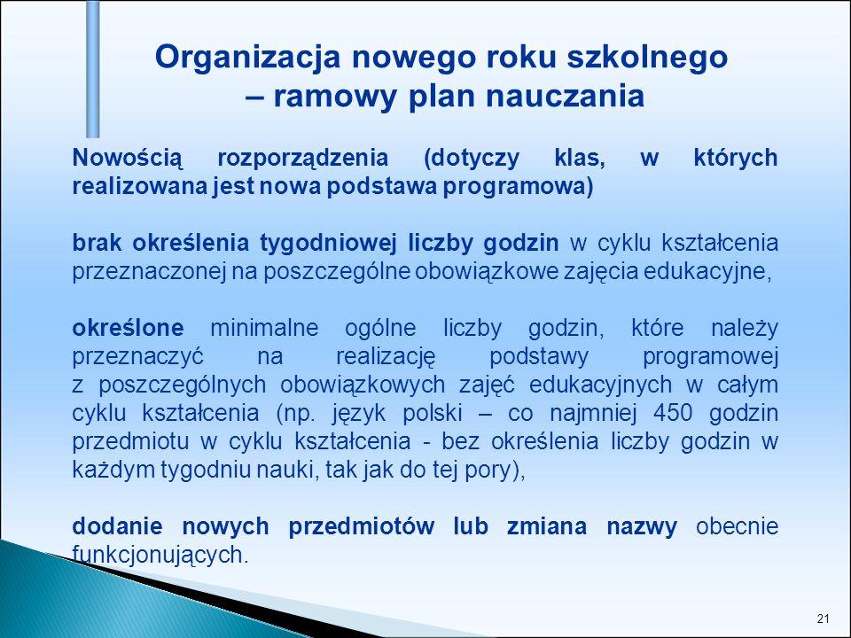 21 Organizacja nowego roku szkolnego – ramowy plan nauczania Nowością rozporządzenia (dotyczy klas, w których realizowana jest nowa podstawa programow