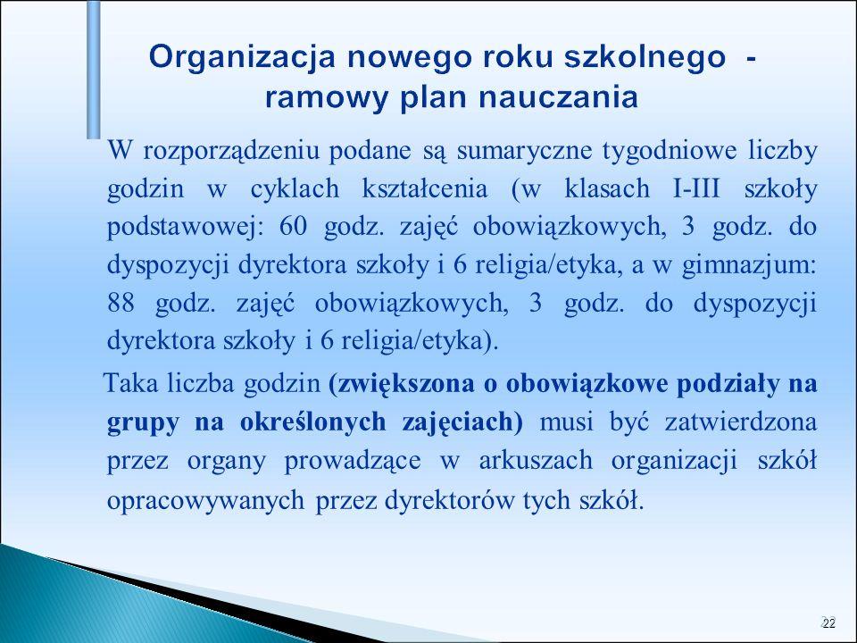 22 Organizacja nowego roku szkolnego - ramowy plan nauczania W rozporządzeniu podane są sumaryczne tygodniowe liczby godzin w cyklach kształcenia (w k