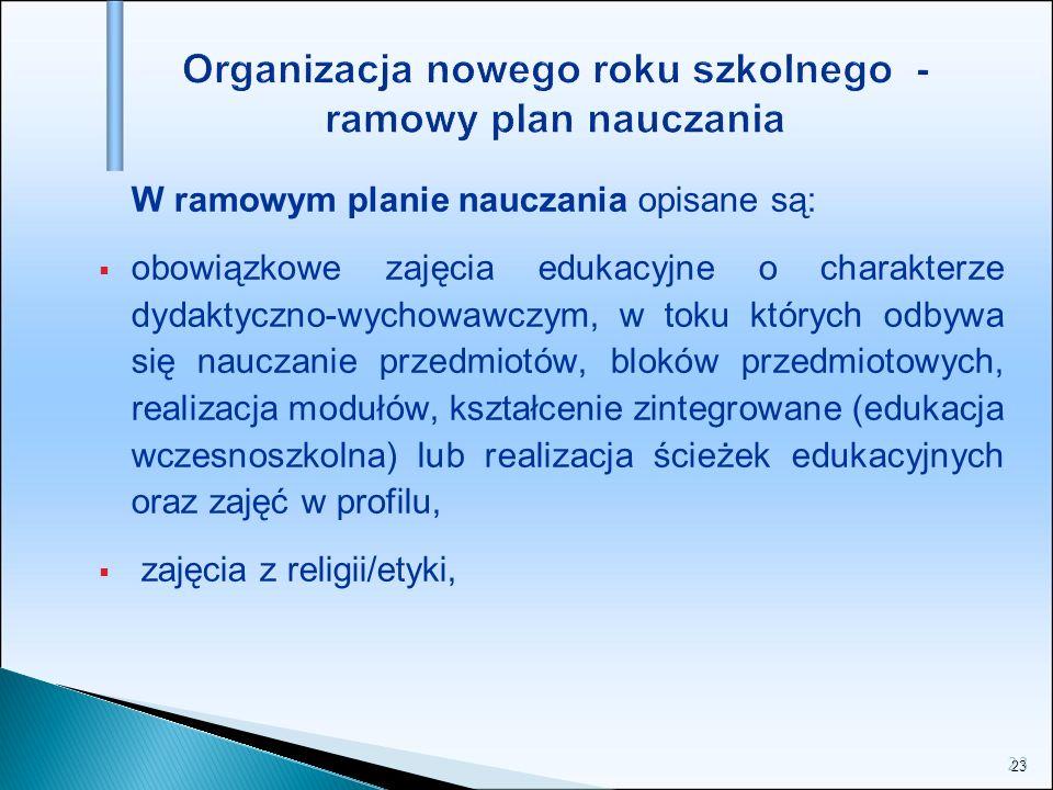23 Organizacja nowego roku szkolnego - ramowy plan nauczania W ramowym planie nauczania opisane są: obowiązkowe zajęcia edukacyjne o charakterze dydak