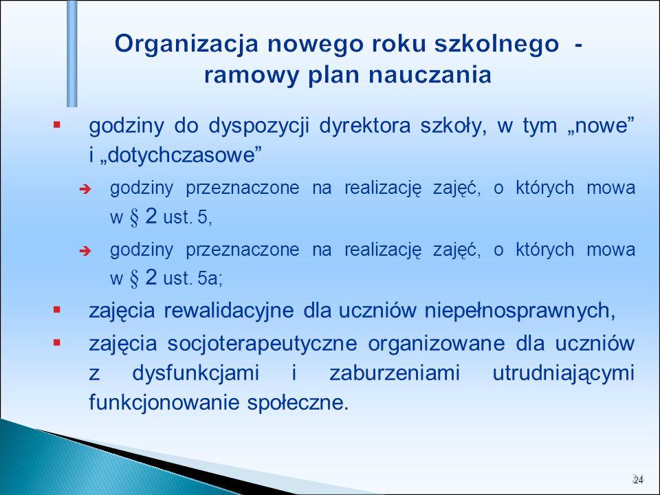 24 Organizacja nowego roku szkolnego - ramowy plan nauczania godziny do dyspozycji dyrektora szkoły, w tym nowe i dotychczasowe godziny przeznaczone n