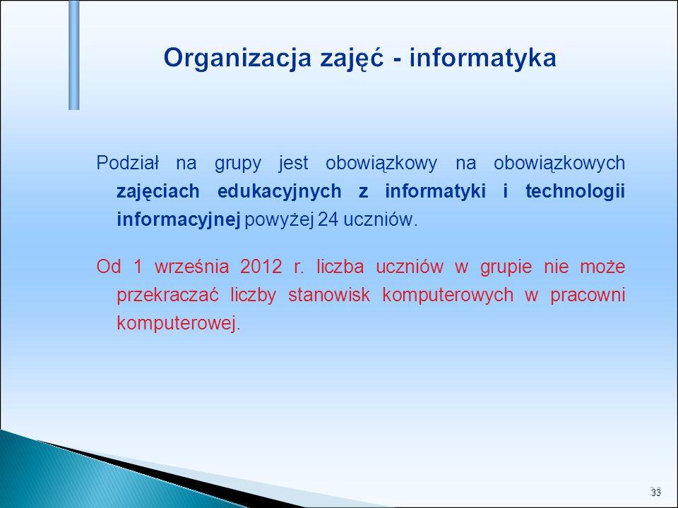 33 Organizacja zajęć - informatyka Podział na grupy jest obowiązkowy na obowiązkowych zajęciach edukacyjnych z informatyki i technologii informacyjnej