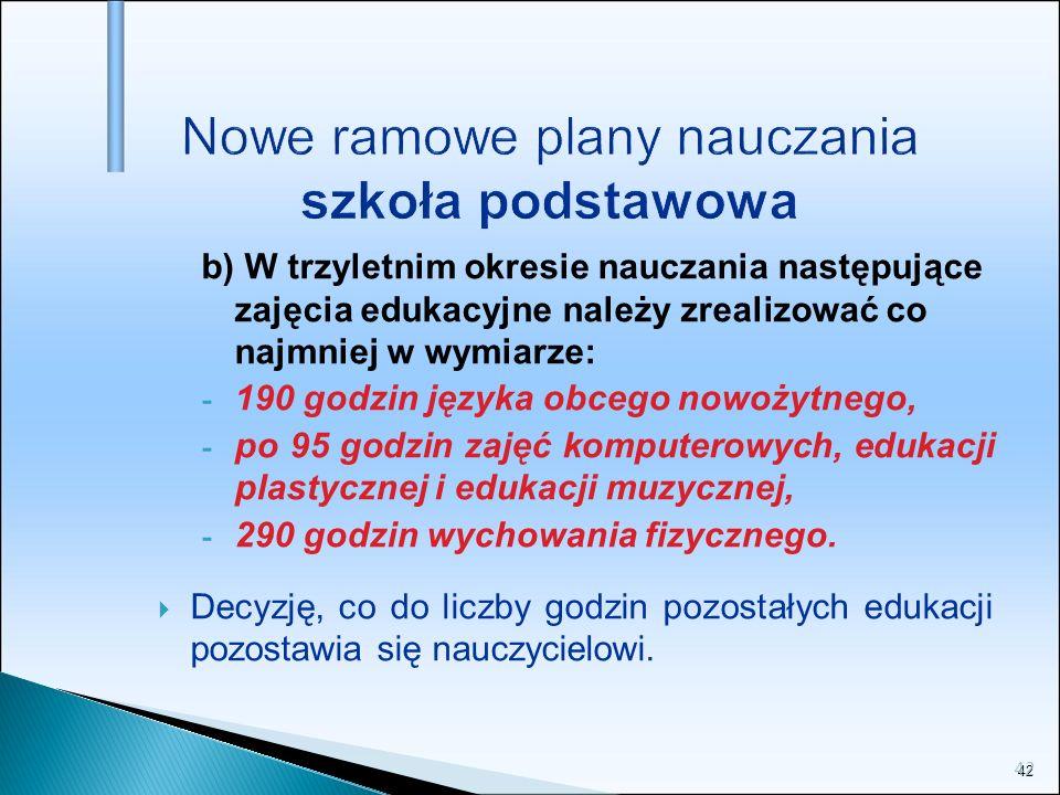42 Nowe ramowe plany nauczania szkoła podstawowa b) W trzyletnim okresie nauczania następujące zajęcia edukacyjne należy zrealizować co najmniej w wym