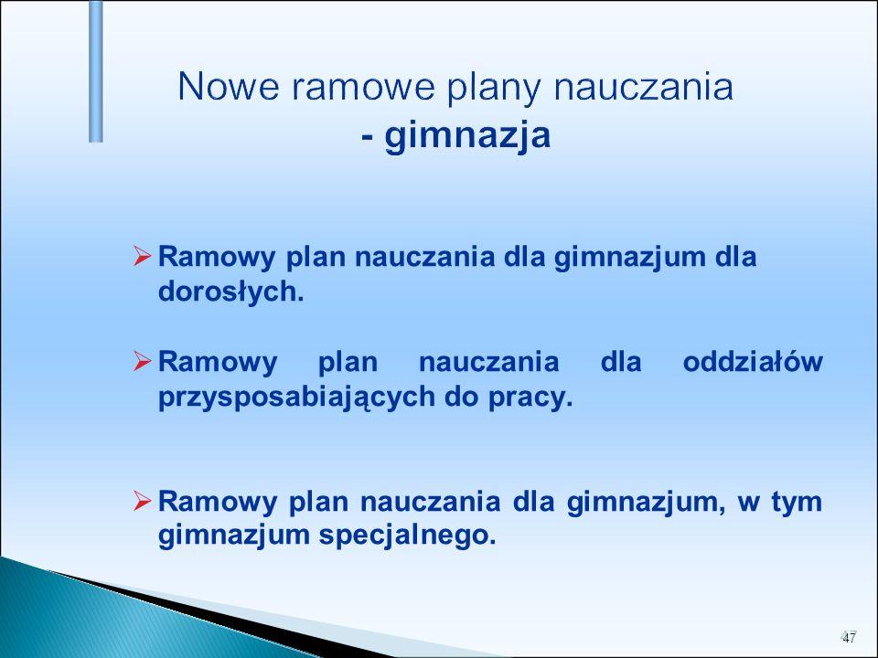 47 Nowe ramowe plany nauczania - gimnazja Ramowy plan nauczania dla gimnazjum dla dorosłych. Ramowy plan nauczania dla oddziałów przysposabiających do