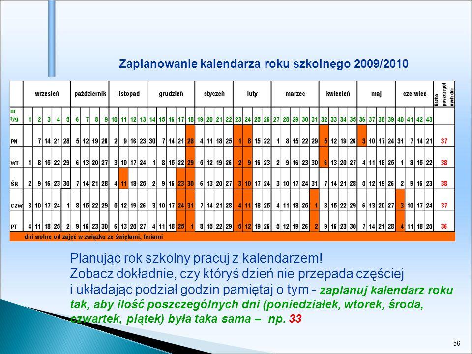 56 Zaplanowanie kalendarza roku szkolnego 2009/2010 Planując rok szkolny pracuj z kalendarzem! Zobacz dokładnie, czy któryś dzień nie przepada częście