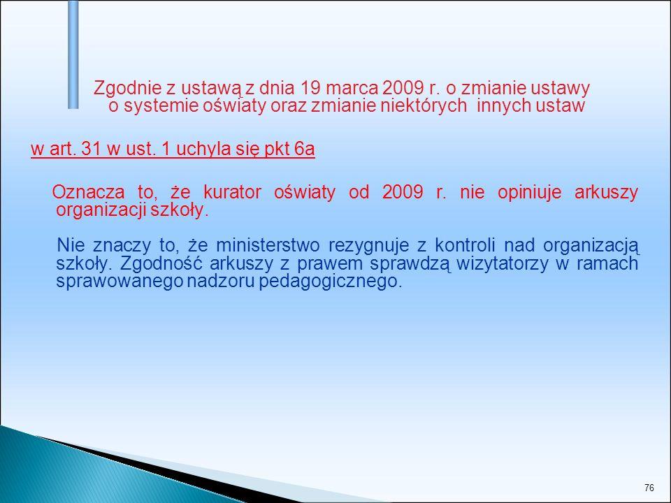 76 Zgodnie z ustawą z dnia 19 marca 2009 r. o zmianie ustawy o systemie oświaty oraz zmianie niektórych innych ustaw w art. 31 w ust. 1 uchyla się pkt