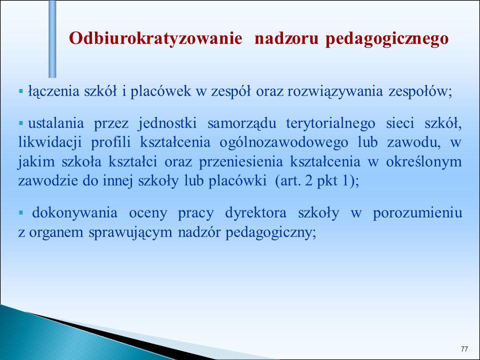 77 Odbiurokratyzowanie nadzoru pedagogicznego łączenia szkół i placówek w zespół oraz rozwiązywania zespołów; ustalania przez jednostki samorządu tery