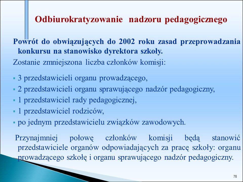 78 Odbiurokratyzowanie nadzoru pedagogicznego Powrót do obwiązujących do 2002 roku zasad przeprowadzania konkursu na stanowisko dyrektora szkoły. Zost