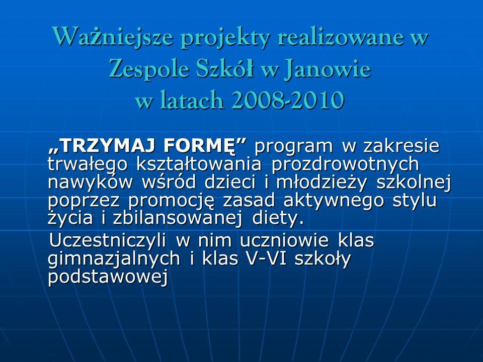 Wa ż niejsze projekty realizowane w Zespole Szkó ł w Janowie w latach 2008-2010 TRZYMAJ FORMĘ program w zakresie trwałego kształtowania prozdrowotnych