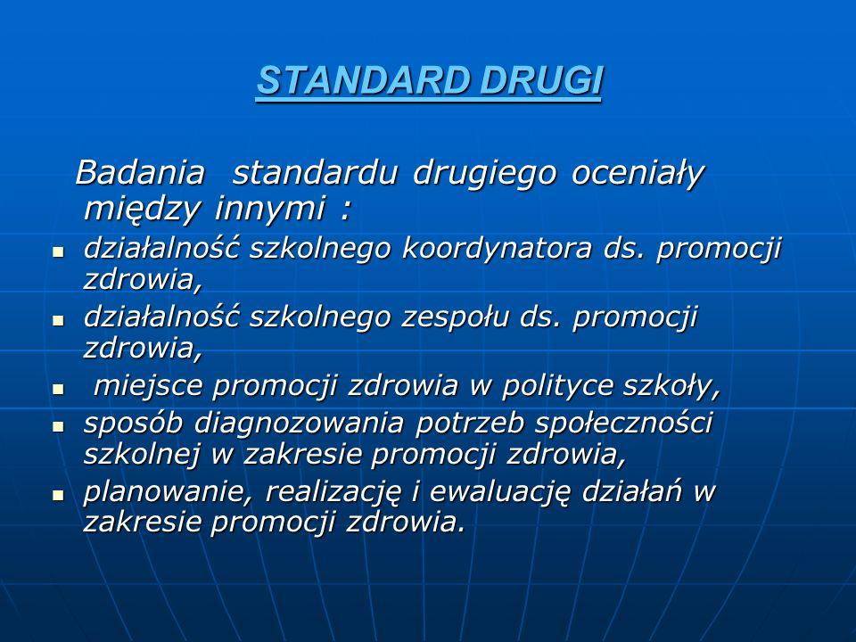 STANDARD DRUGI Badania standardu drugiego oceniały między innymi : Badania standardu drugiego oceniały między innymi : działalność szkolnego koordynat