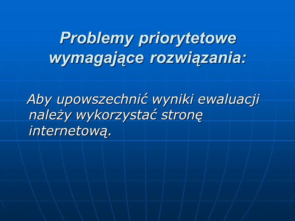Problemy priorytetowe wymagające rozwiązania: Aby upowszechnić wyniki ewaluacji należy wykorzystać stronę internetową. Aby upowszechnić wyniki ewaluac