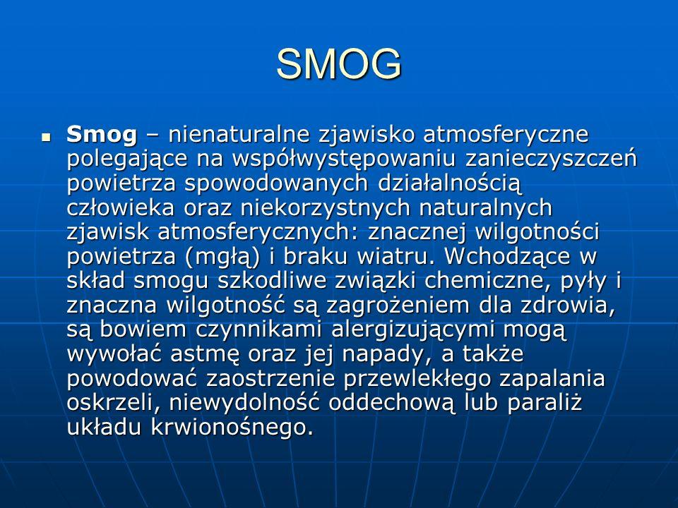 SMOG Smog – nienaturalne zjawisko atmosferyczne polegające na współwystępowaniu zanieczyszczeń powietrza spowodowanych działalnością człowieka oraz ni