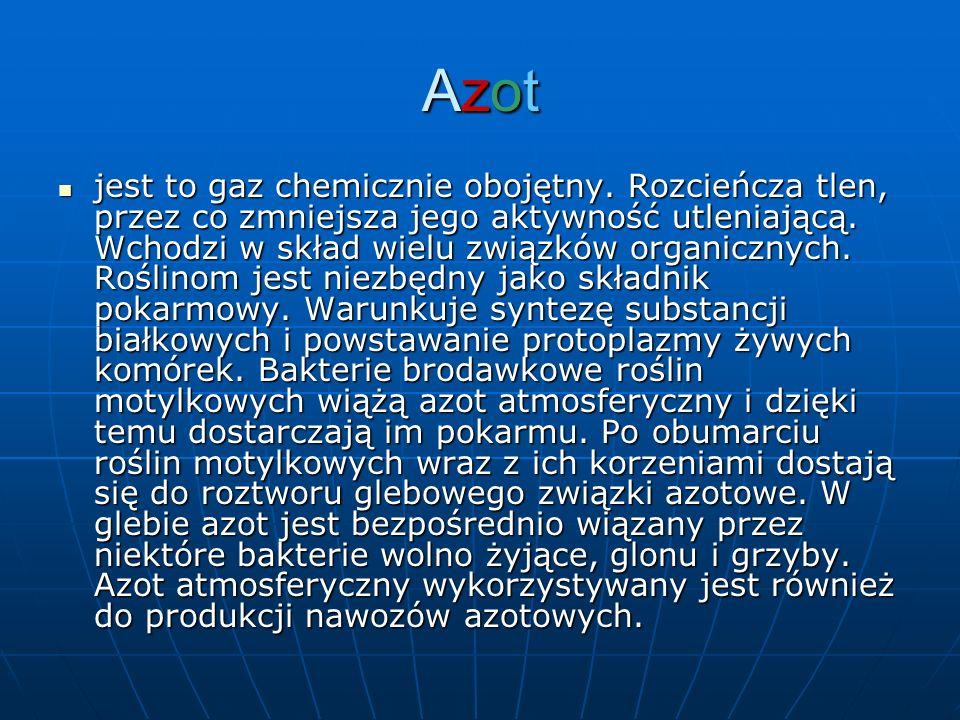 AzotAzotAzotAzot jest to gaz chemicznie obojętny. Rozcieńcza tlen, przez co zmniejsza jego aktywność utleniającą. Wchodzi w skład wielu związków organ