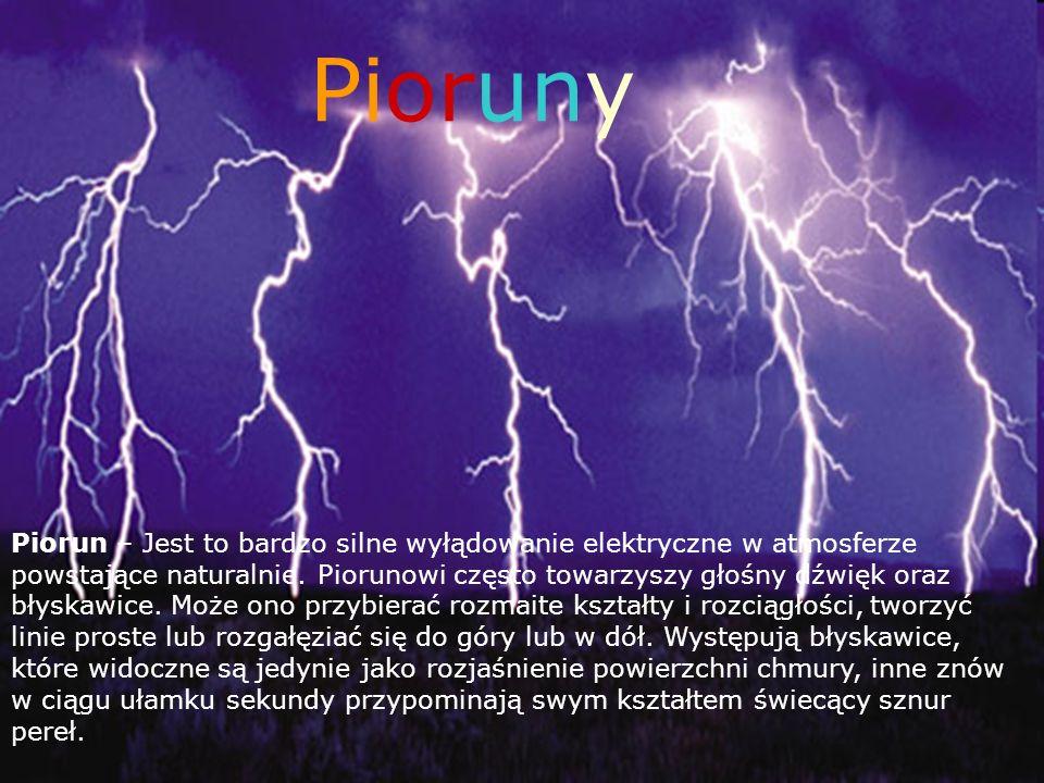 PiorunyPiorunyPiorunyPioruny Pioruny Piorun – Jest to bardzo silne wyłądowanie elektryczne w atmosferze powstające naturalnie. Piorunowi często towarz