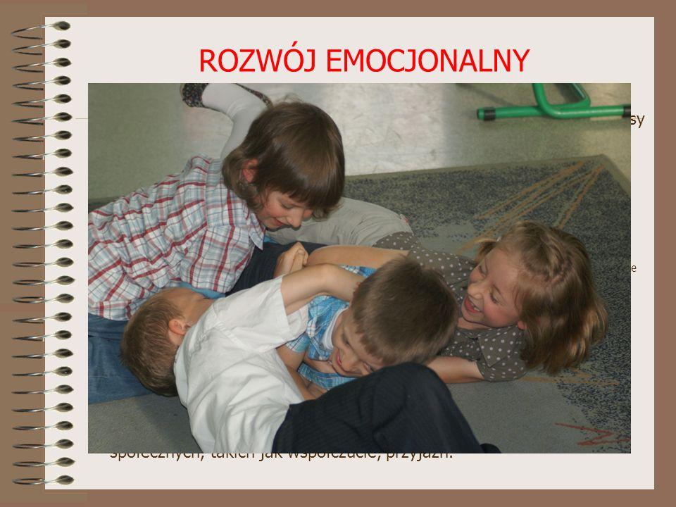 ROZWÓJ EMOCJONALNY Dziecko rozpoczynające naukę w szkole - powinno panować nad swoimi uczuciami i dojrzale reagować na sukcesy i porażki - powinno roz