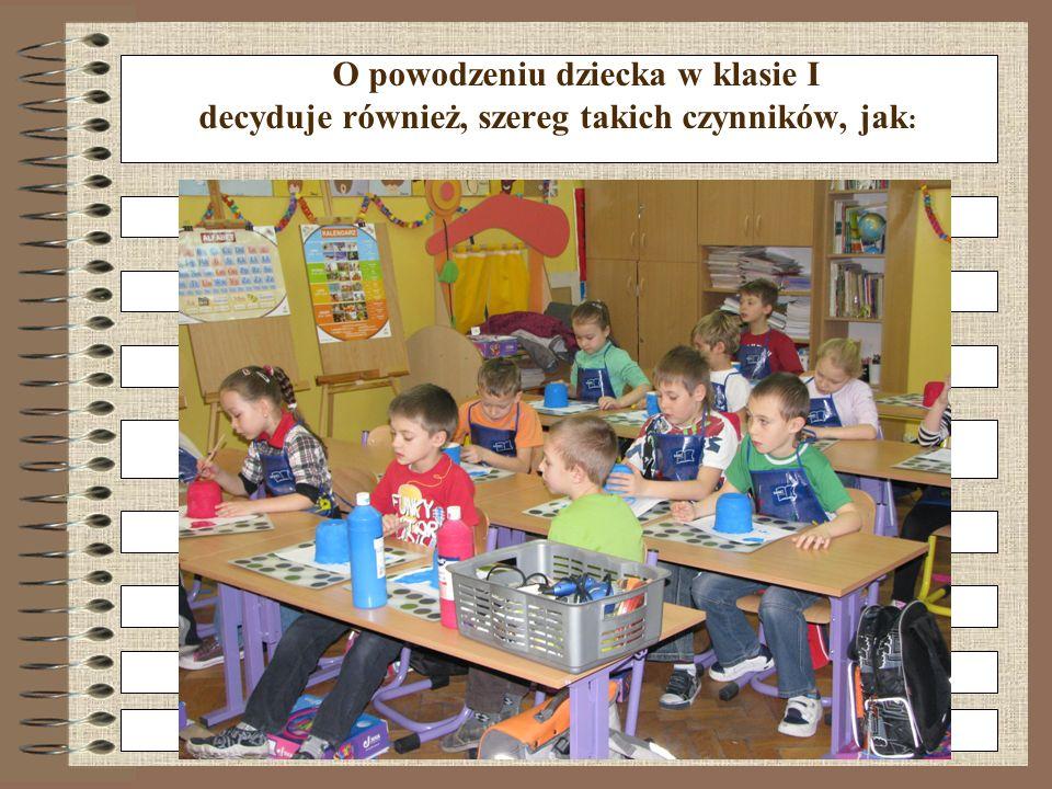 O powodzeniu dziecka w klasie I decyduje również, szereg takich czynników, jak : -motywacja do nauki -poczucie odpowiedzialności -obowiązkowość -wytrw