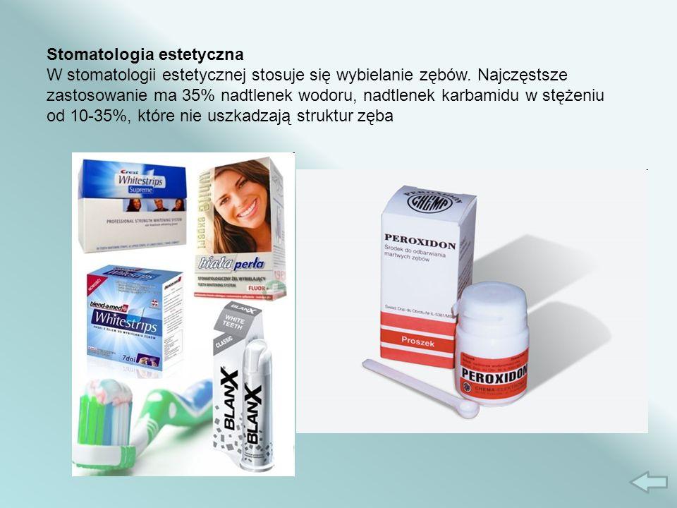 Stomatologia estetyczna W stomatologii estetycznej stosuje się wybielanie zębów.