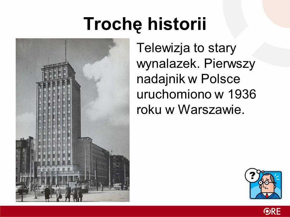 Trochę historii Telewizja to stary wynalazek. Pierwszy nadajnik w Polsce uruchomiono w 1936 roku w Warszawie.