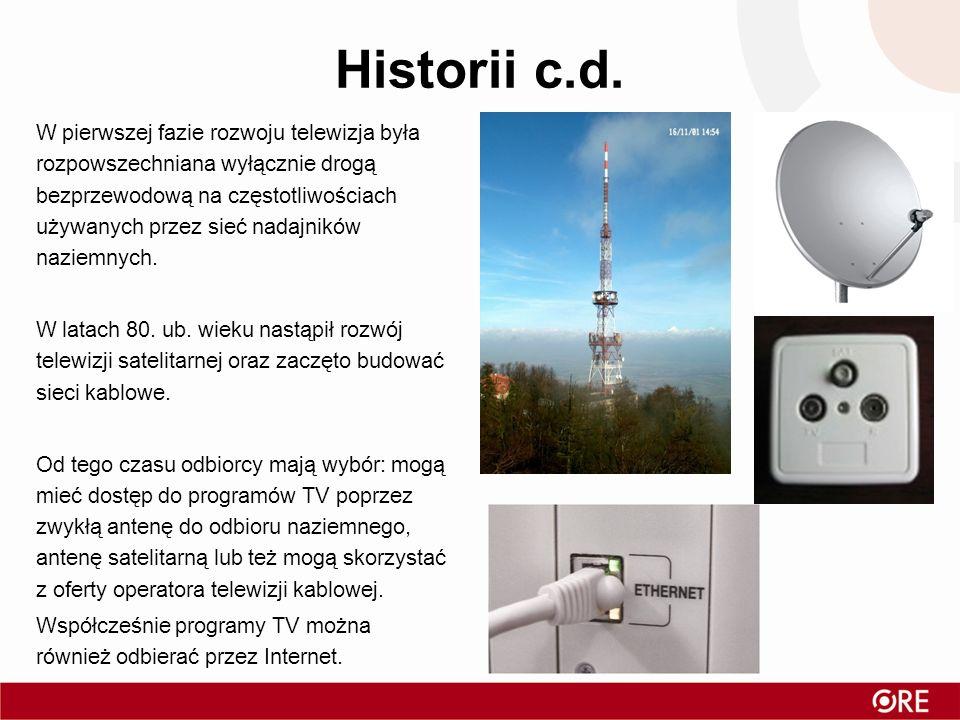 Historii c.d. W pierwszej fazie rozwoju telewizja była rozpowszechniana wyłącznie drogą bezprzewodową na częstotliwościach używanych przez sieć nadajn