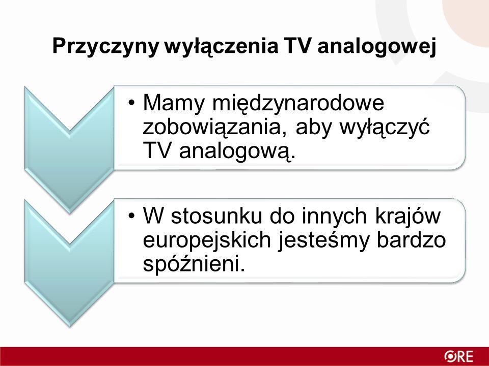 Przyczyny wyłączenia TV analogowej Mamy międzynarodowe zobowiązania, aby wyłączyć TV analogową. W stosunku do innych krajów europejskich jesteśmy bard