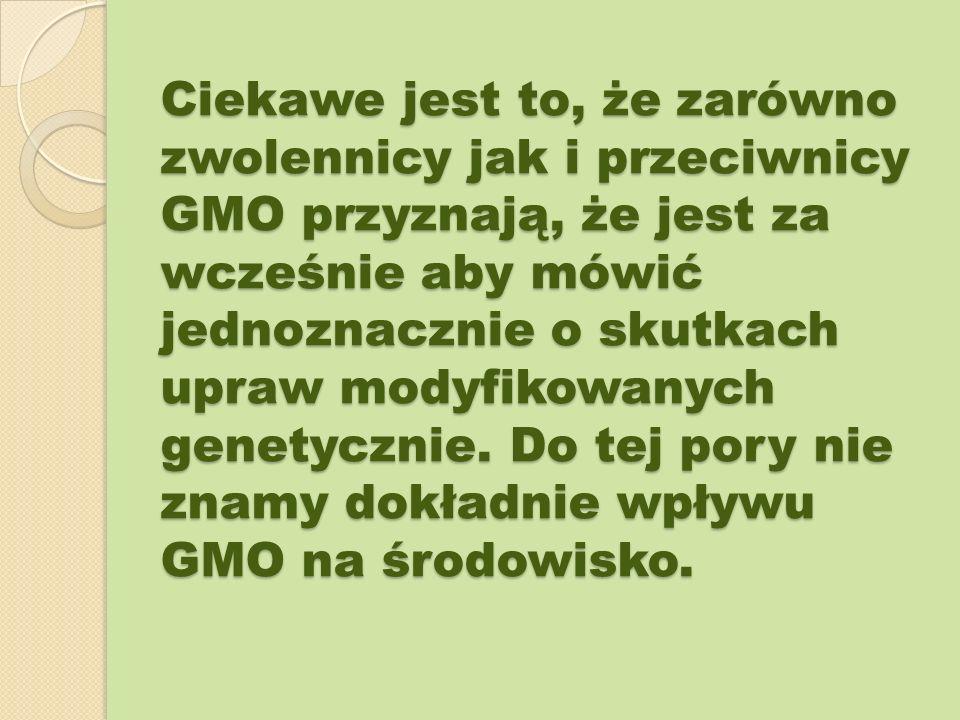Ciekawe jest to, że zarówno zwolennicy jak i przeciwnicy GMO przyznają, że jest za wcześnie aby mówić jednoznacznie o skutkach upraw modyfikowanych ge