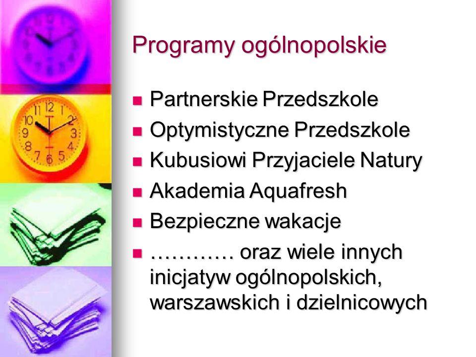 Programy ogólnopolskie Partnerskie Przedszkole Partnerskie Przedszkole Optymistyczne Przedszkole Optymistyczne Przedszkole Kubusiowi Przyjaciele Natur