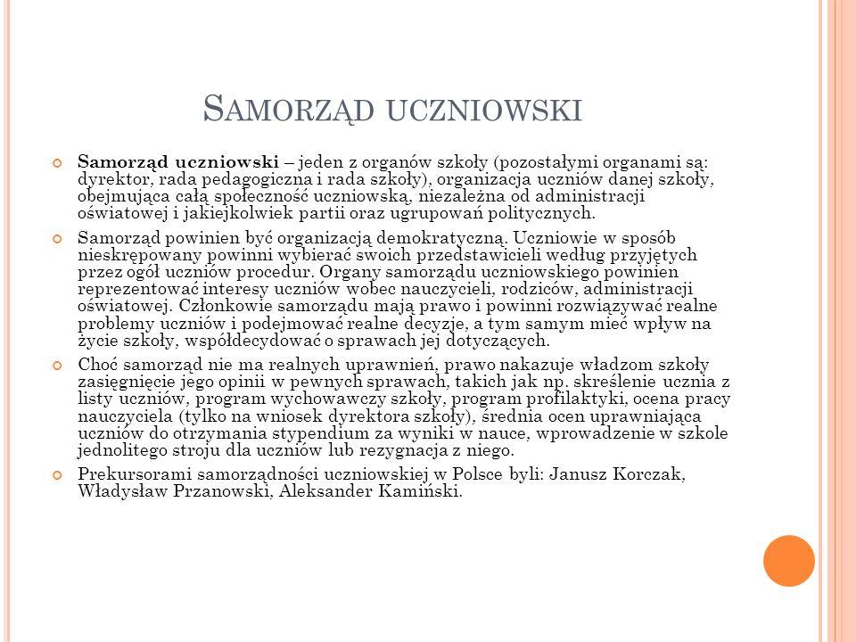 N ASZ SAMORZĄD Do samorządu szkolnego w Publicznym Gimnazjum nr 1 w Czernicy należą: Arkadiusz Wróbel, Bartosz Jakubiak oraz wszyscy uczniowie z samorządów klasowych.