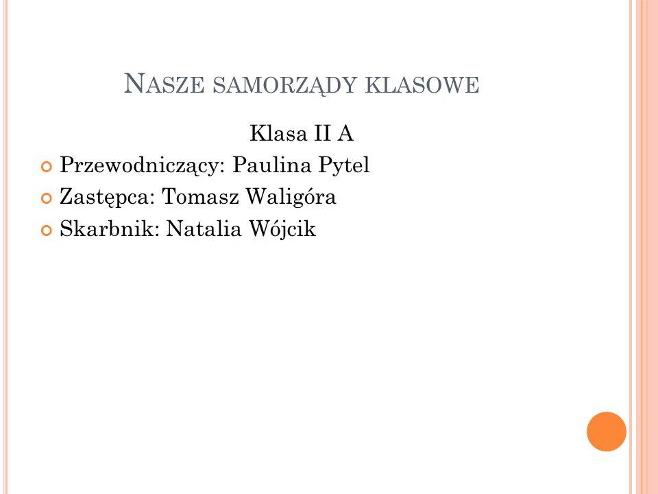 N ASZE SAMORZĄDY KLASOWE Klasa II B Przewodniczący: Wojciech Bagiński Zastępca: Natalia Ziółkowska Skarbnik: Julia Cyfert