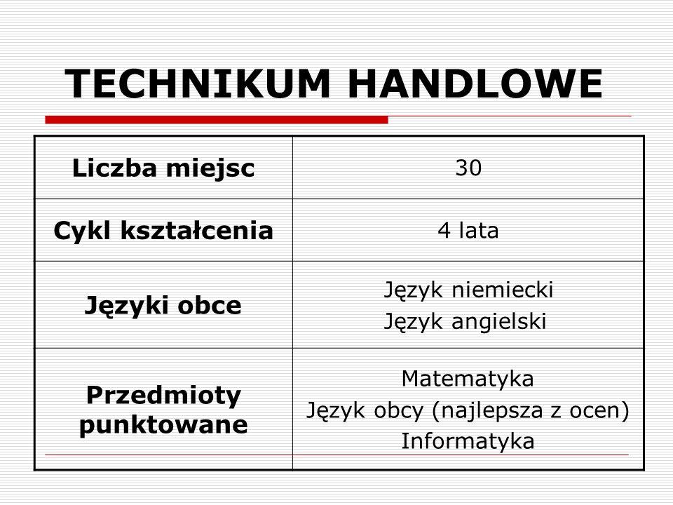 TECHNIKUM HANDLOWE Liczba miejsc 30 Cykl kształcenia 4 lata Języki obce Język niemiecki Język angielski Przedmioty punktowane Matematyka Język obcy (najlepsza z ocen) Informatyka