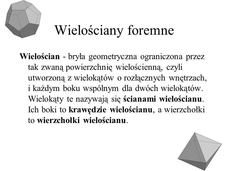 Wielościany foremne Wielościan - bryła geometryczna ograniczona przez tak zwaną powierzchnię wielościenną, czyli utworzoną z wielokątów o rozłącznych