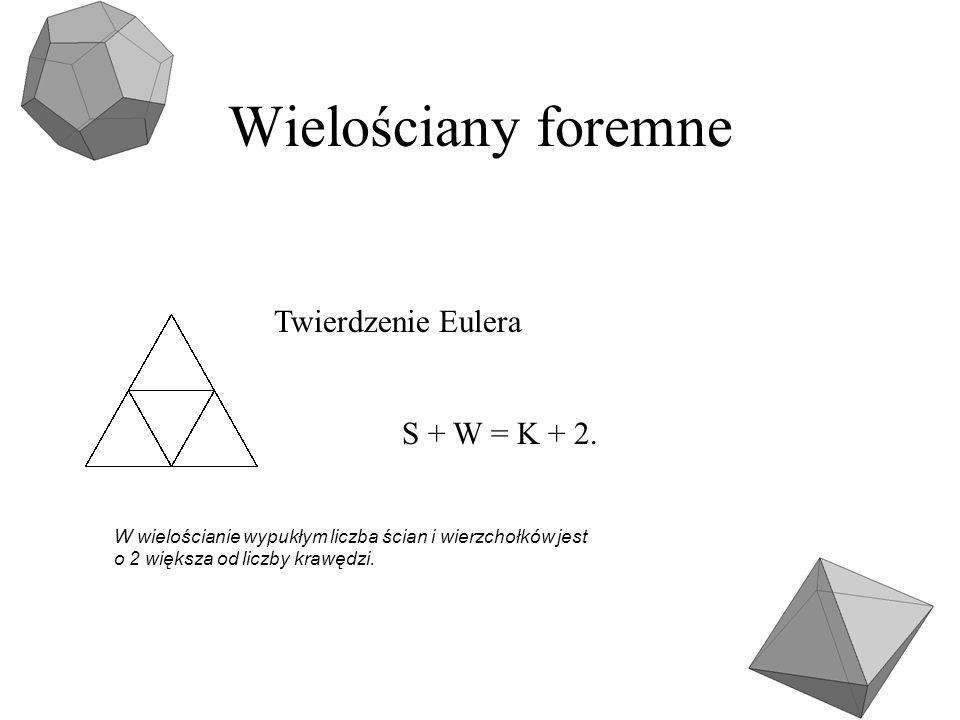 Wielościany foremne S + W = K + 2. Twierdzenie Eulera W wielościanie wypukłym liczba ścian i wierzchołków jest o 2 większa od liczby krawędzi.