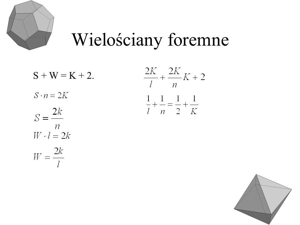 Wielościany foremne S + W = K + 2.