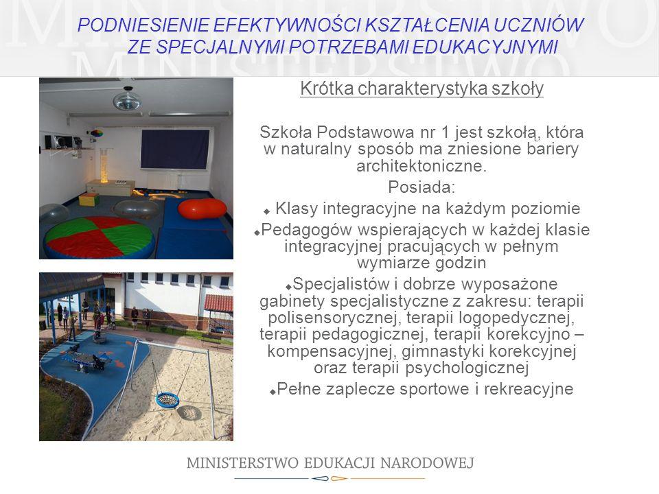 Krótka charakterystyka szkoły Szkoła Podstawowa nr 1 jest szkołą, która w naturalny sposób ma zniesione bariery architektoniczne. Posiada: Klasy integ