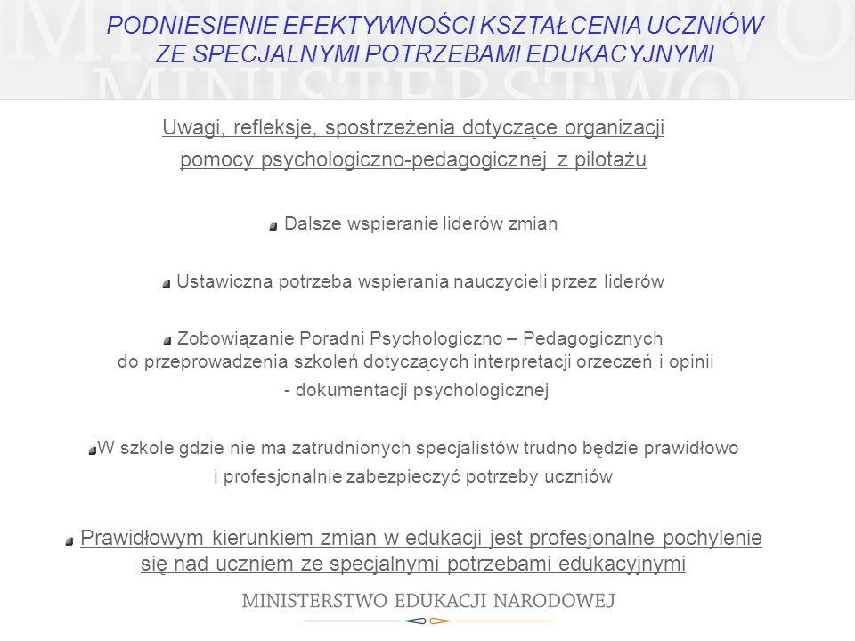 Uwagi, refleksje, spostrzeżenia dotyczące organizacji pomocy psychologiczno-pedagogicznej z pilotażu Dalsze wspieranie liderów zmian Ustawiczna potrzeba wspierania nauczycieli przez liderów Zobowiązanie Poradni Psychologiczno – Pedagogicznych do przeprowadzenia szkoleń dotyczących interpretacji orzeczeń i opinii - dokumentacji psychologicznej W szkole gdzie nie ma zatrudnionych specjalistów trudno będzie prawidłowo i profesjonalnie zabezpieczyć potrzeby uczniów Prawidłowym kierunkiem zmian w edukacji jest profesjonalne pochylenie się nad uczniem ze specjalnymi potrzebami edukacyjnymi PODNIESIENIE EFEKTYWNOŚCI KSZTAŁCENIA UCZNIÓW ZE SPECJALNYMI POTRZEBAMI EDUKACYJNYMI