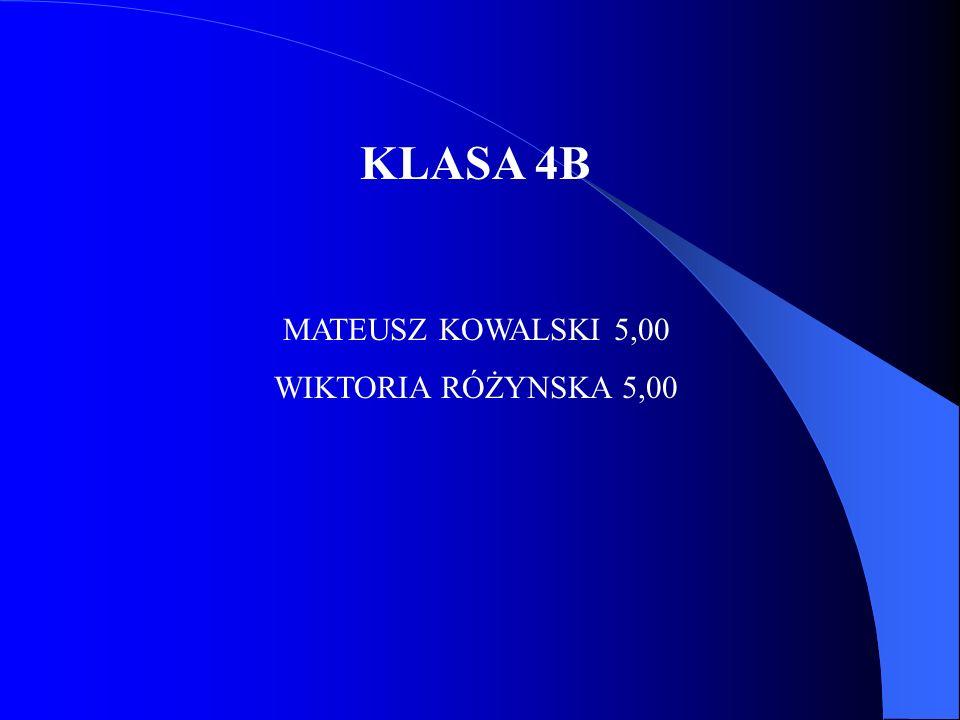KLASA 4B MATEUSZ KOWALSKI 5,00 WIKTORIA RÓŻYNSKA 5,00
