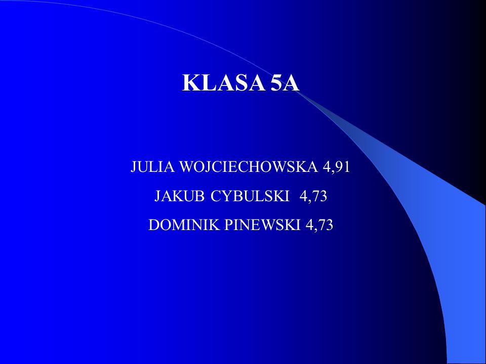 KLASA 5A JULIA WOJCIECHOWSKA 4,91 JAKUB CYBULSKI 4,73 DOMINIK PINEWSKI 4,73