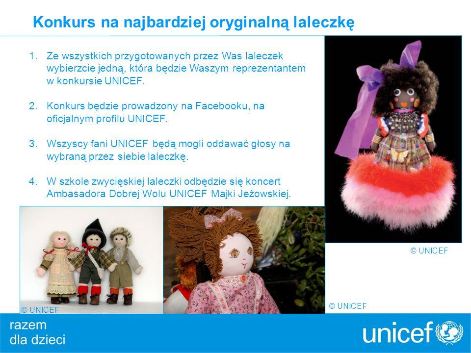 Konkurs na najbardziej oryginalną laleczkę © UNICEF 1.Ze wszystkich przygotowanych przez Was laleczek wybierzcie jedną, która będzie Waszym reprezenta