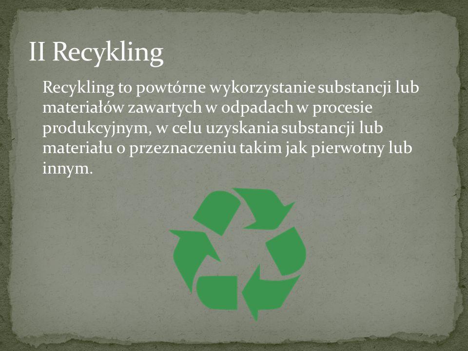 Recykling to powtórne wykorzystanie substancji lub materiałów zawartych w odpadach w procesie produkcyjnym, w celu uzyskania substancji lub materiału