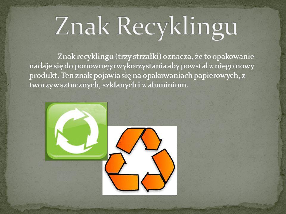 Znak recyklingu (trzy strzałki) oznacza, że to opakowanie nadaje się do ponownego wykorzystania aby powstał z niego nowy produkt. Ten znak pojawia się