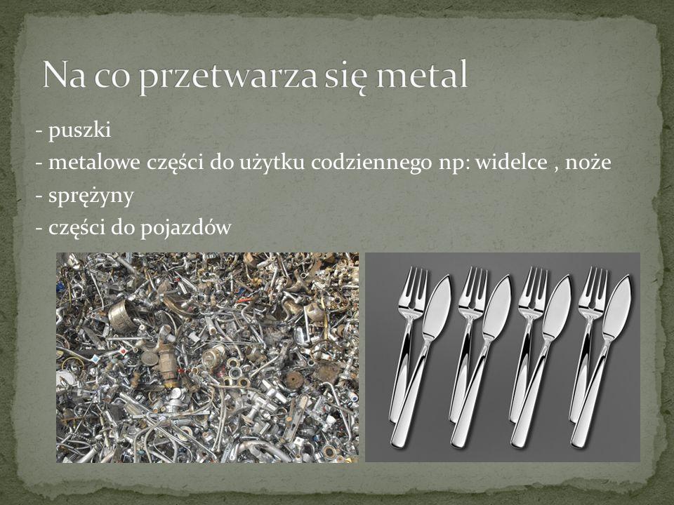- puszki - metalowe części do użytku codziennego np: widelce, noże - sprężyny - części do pojazdów
