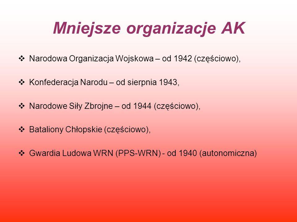 Mniejsze organizacje AK Narodowa Organizacja Wojskowa – od 1942 (częściowo), Konfederacja Narodu – od sierpnia 1943, Narodowe Siły Zbrojne – od 1944 (
