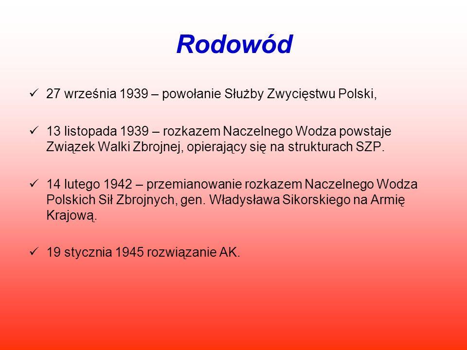 Rodowód 27 września 1939 – powołanie Służby Zwycięstwu Polski, 13 listopada 1939 – rozkazem Naczelnego Wodza powstaje Związek Walki Zbrojnej, opierają