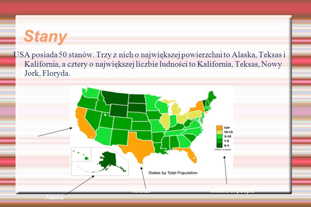 Stany USA posiada 50 stanów. Trzy z nich o największej powierzchni to Alaska, Teksas i Kalifornia, a cztery o największej liczbie ludności to Kaliforn