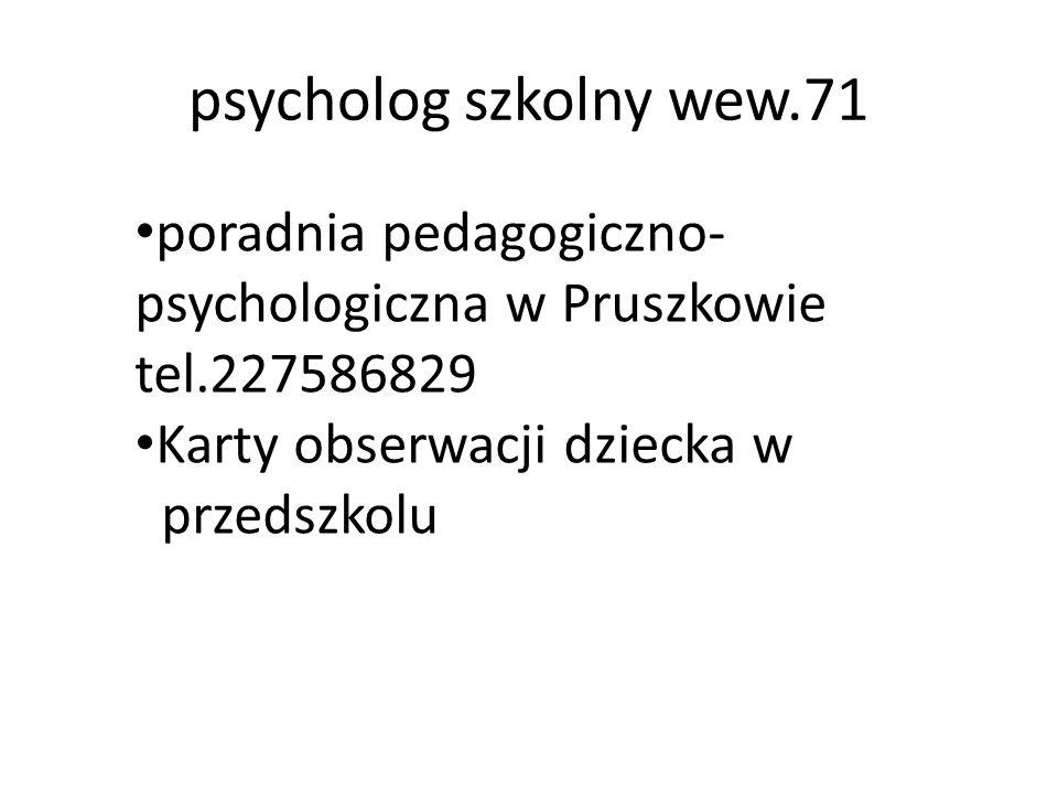 psycholog szkolny wew.71 poradnia pedagogiczno- psychologiczna w Pruszkowie tel.227586829 Karty obserwacji dziecka w przedszkolu