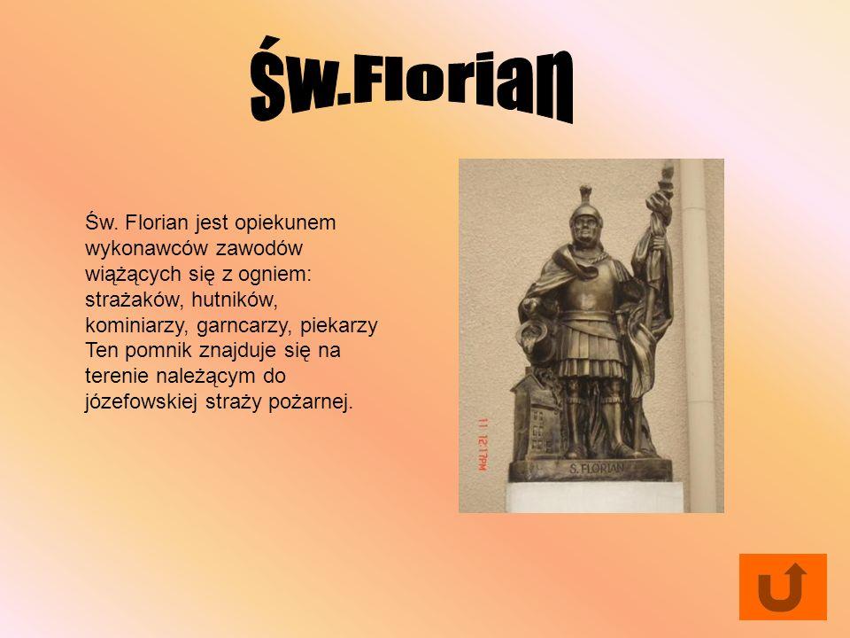Św. Florian jest opiekunem wykonawców zawodów wiążących się z ogniem: strażaków, hutników, kominiarzy, garncarzy, piekarzy Ten pomnik znajduje się na