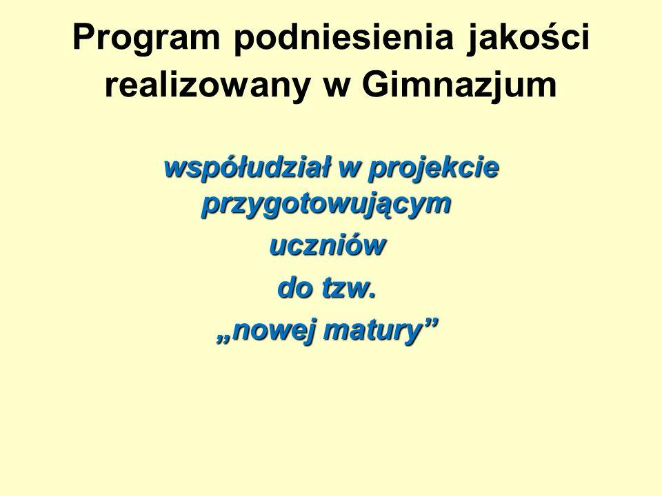 Program podniesienia jakości realizowany w Gimnazjum współudział w projekcie przygotowującym współudział w projekcie przygotowującymuczniów do tzw.