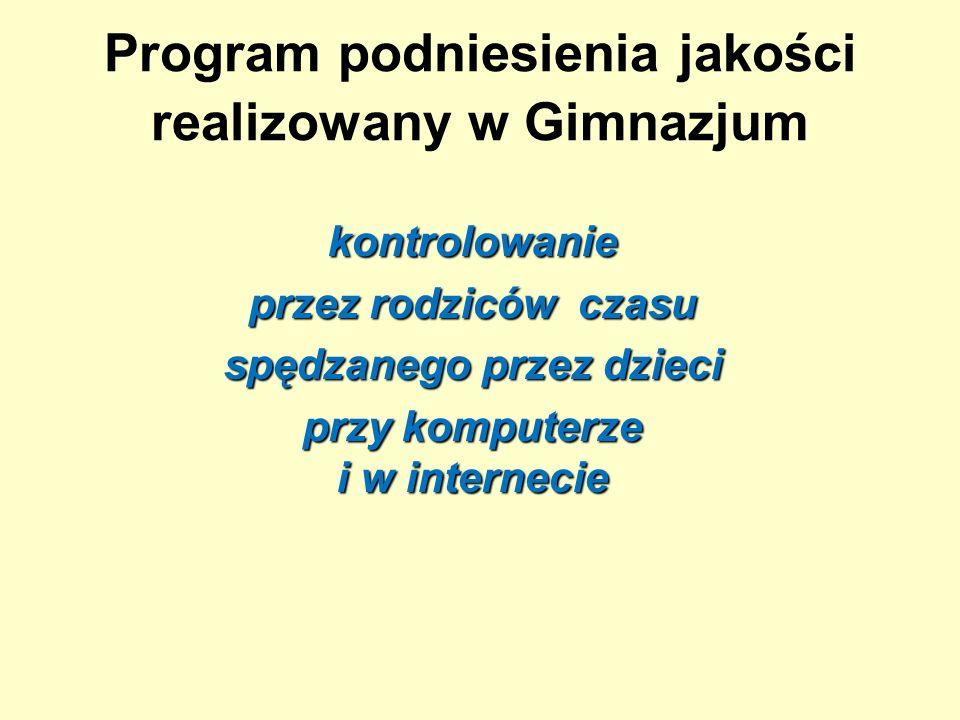 Program podniesienia jakości realizowany w Gimnazjum kontrolowanie przez rodziców czasu spędzanego przez dzieci przy komputerze i w internecie