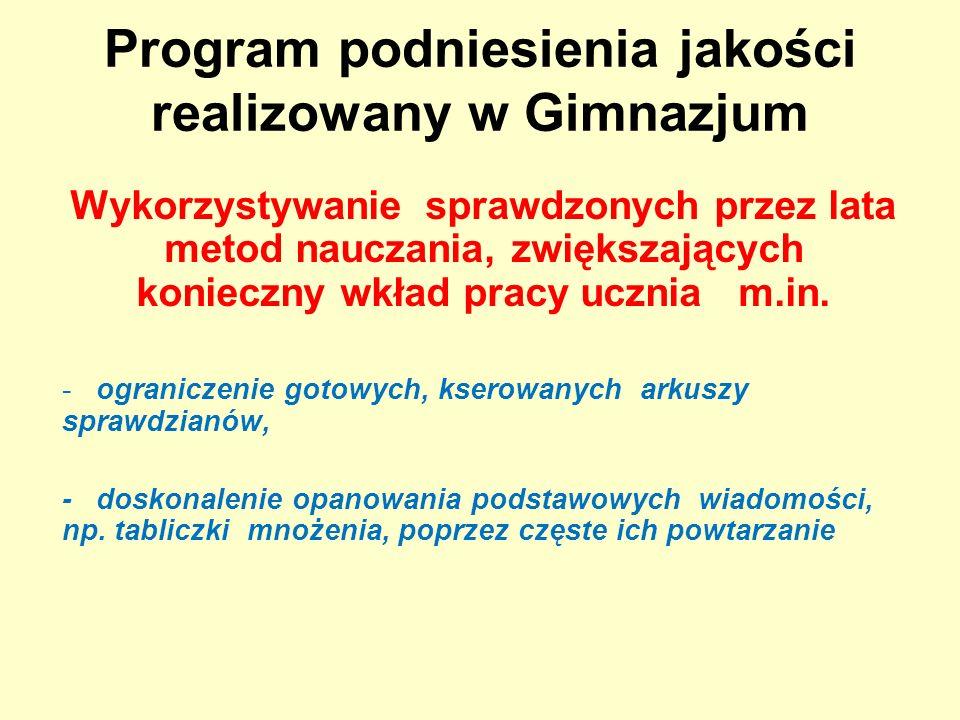 Program podniesienia jakości realizowany w Gimnazjum Wykorzystywanie sprawdzonych przez lata metod nauczania, zwiększających konieczny wkład pracy ucznia m.in.